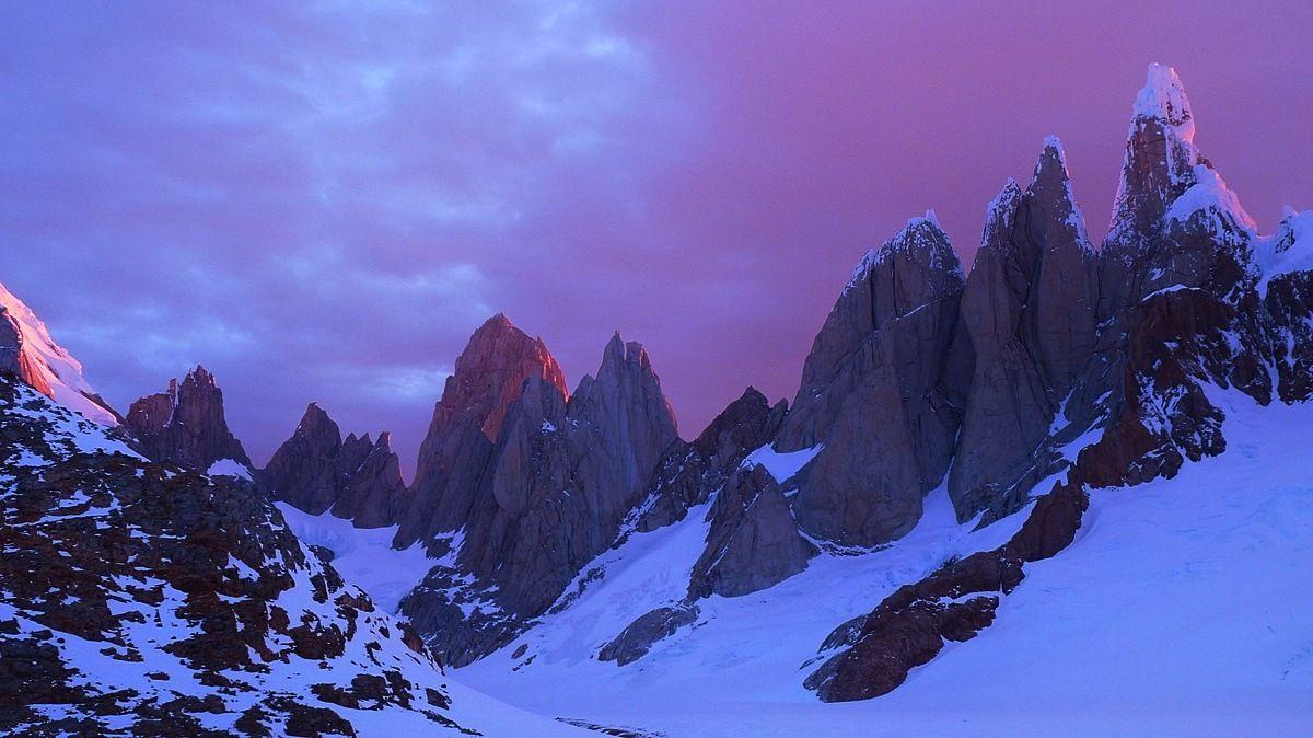 The Cerro Torre range at sunrise from the Cirque de los Altares