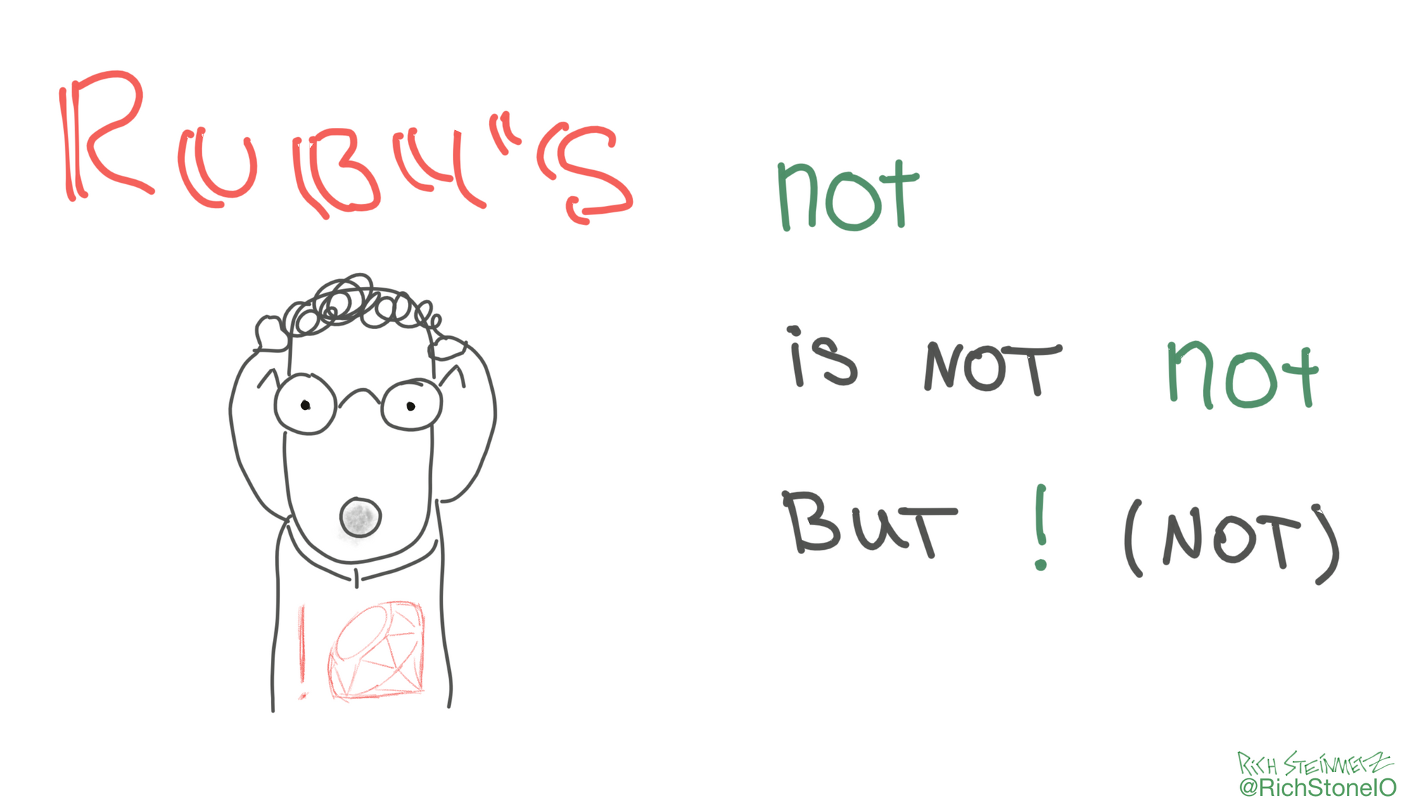 Ruby's not keyword is not not but ! (not)