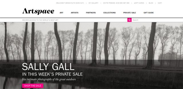 Screen shot of the Artspace website