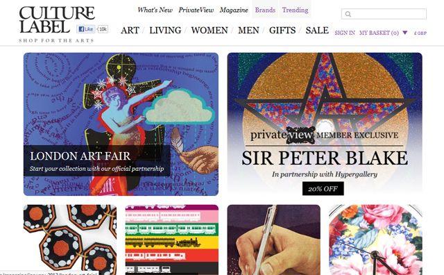 Screenshot of the Culture Label website