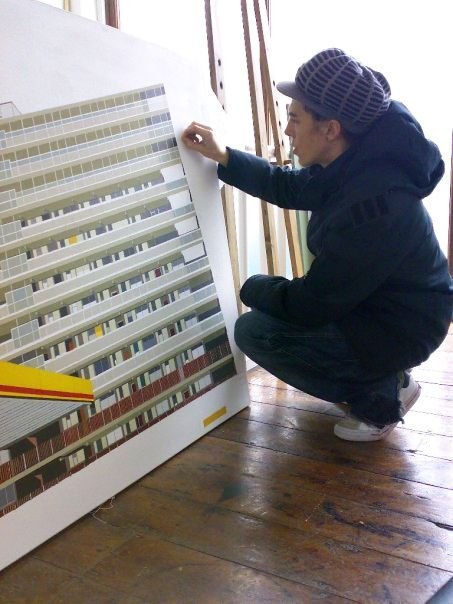 Artist Louise Champion creating Heygate