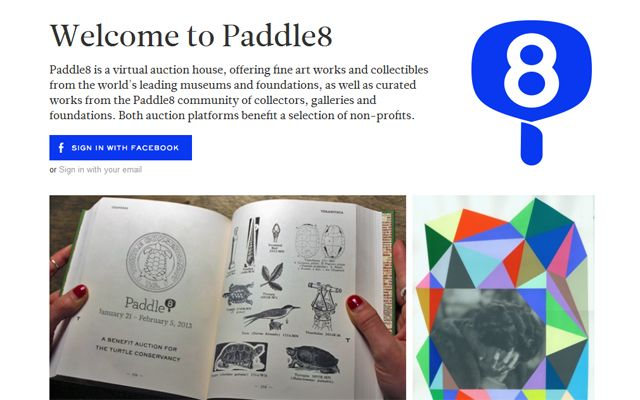 Screenshot of the Paddle8 website